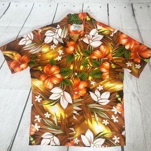 Vintage Hawaiian Hilo Hattie Floral Print Shirt